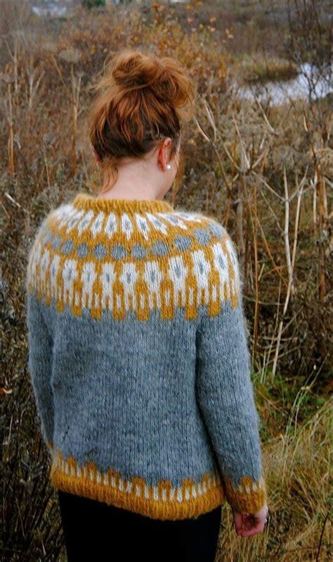 icelandic pattern jumper sif icelandic sweater handmade with 100 pure icelandic