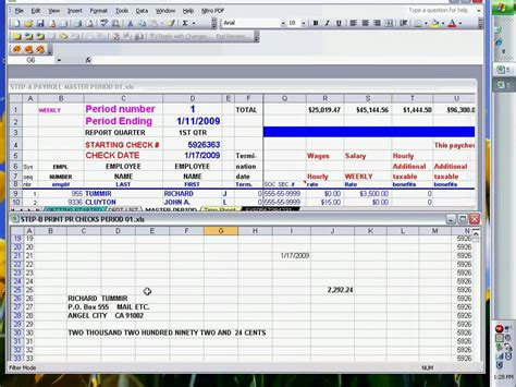 Payroll Checks Using Excel Ready To Print Youtube Check Printing Template Excel