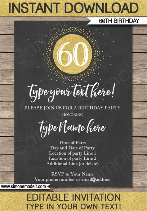 template 60th birthday invitation http chalkboard 60th birthday invitations template gold glitter