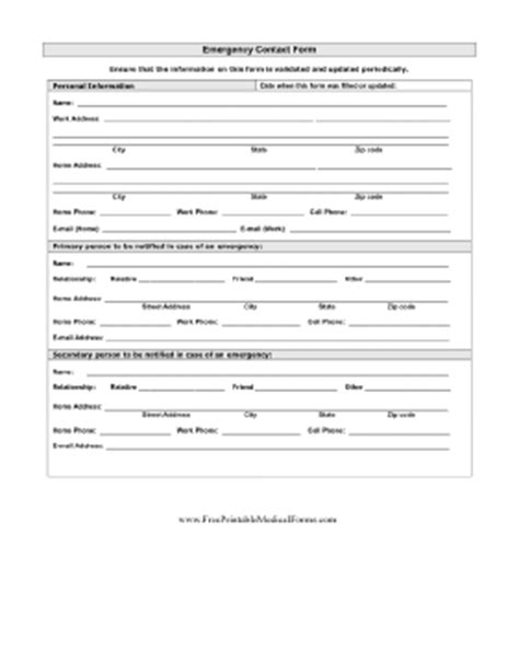 Printable Detailed Emergency Contact Form Free Emergency Contact Form Template For Employees