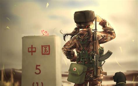 anime soldier girl wallpaper desktop wallpaper soldier army anime girl dog hd image