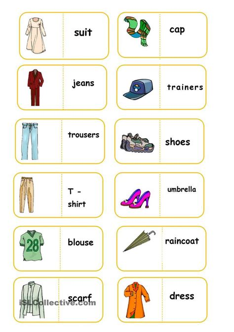 printable domino cards clothes domino esl vocabulary clothes pinterest