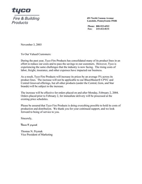 business letter template price increase price increase letter jvwithmenow
