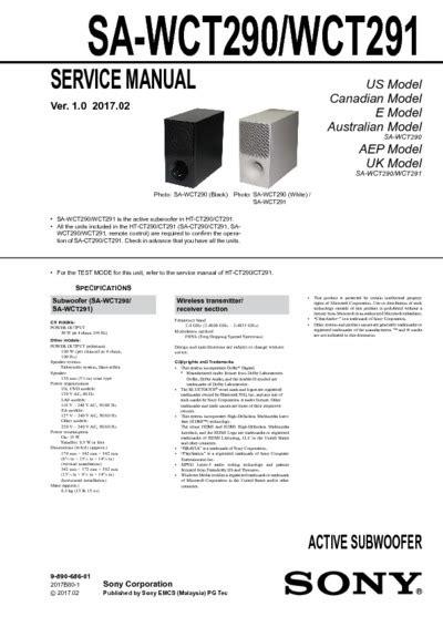 Sony SA-WCT290, SA-WCT291 Ver.1.0, Service Manual, Repair