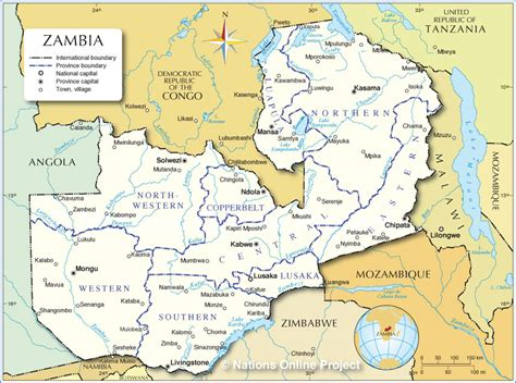 zambia map sambia regionen karte
