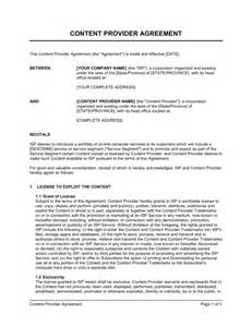 Service Provider Agreement Template by Content Provider Agreement Template Sle Form