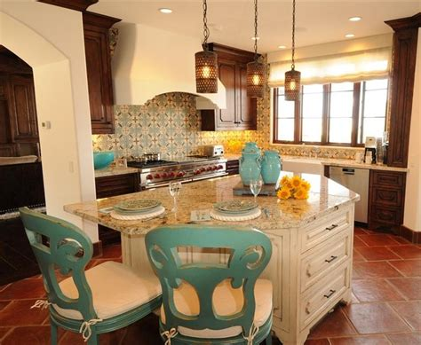 Turquoise Kitchen Island spanish kitchen design with modern space saving design
