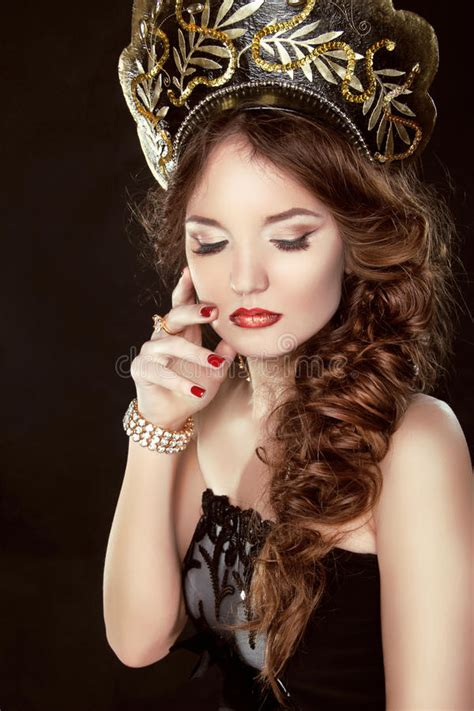 beauty girl with makeup fashion russian model in