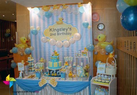 background decoration for birthday party at home backdrop candy buffet and goodie boxes for a rubber ducky