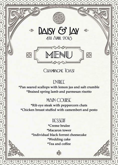 great gatsby dinner menu gatsby deco wedding menu or dinner by