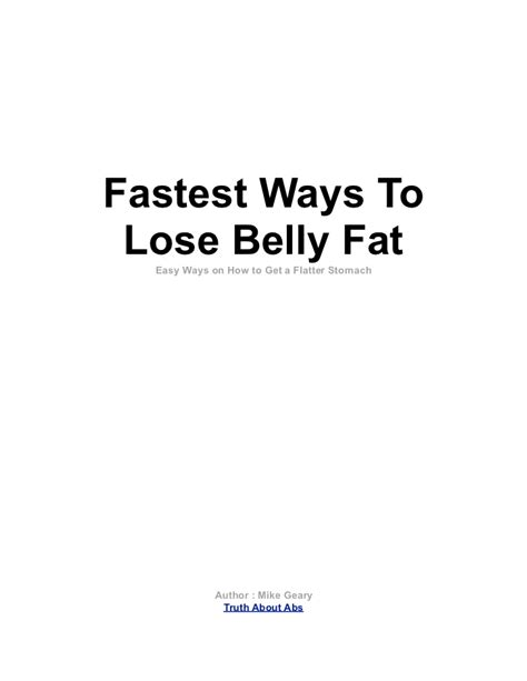 fastest ways to lose belly