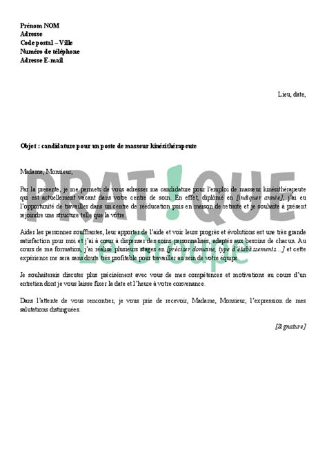 Lettre De Motivation De Stage En Hopital lettre de motivation stage kinesitherapeute hopital