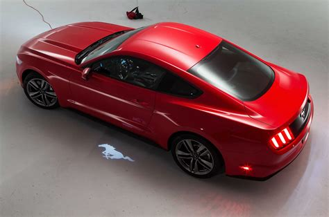 2015 ford mustang above rear view with light projection