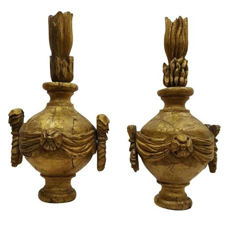 Vintage L Finials by 19th Century Pair Of Antique Wood Finials For Sale At 1stdibs