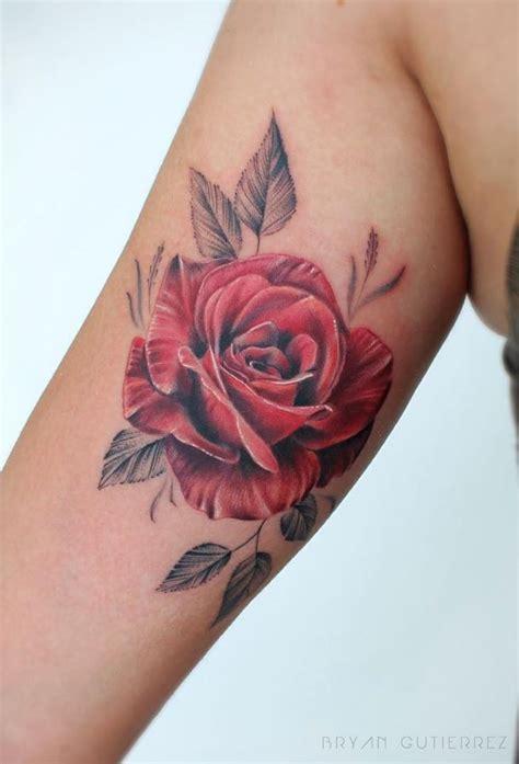 red rose shoulder tattoo doozy list