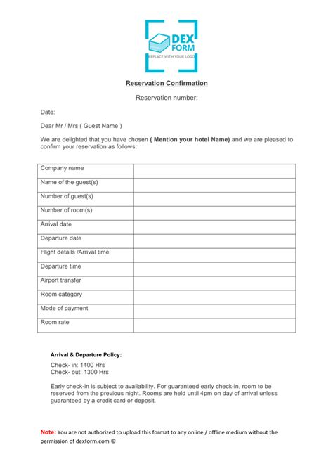 reservation confirmation letter format reservation confirmation letter for hotel in word and pdf