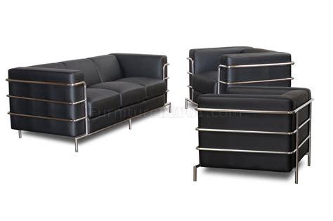 steel sofas black bonded leather modern citadel sofa set w steel