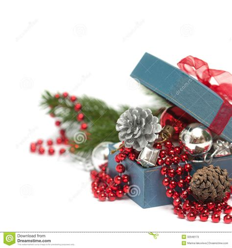 festive decorations christmas gift box with festive decorations stock photos