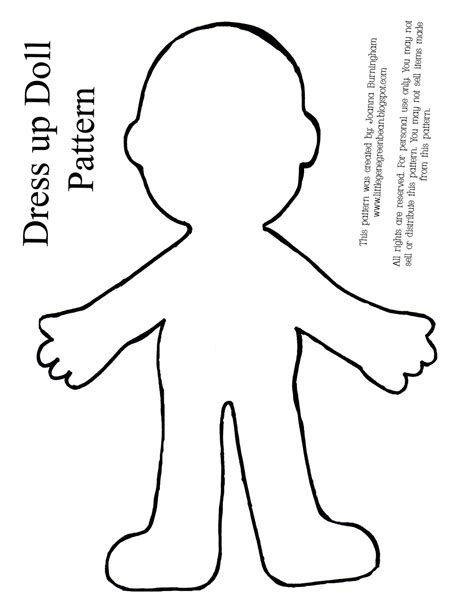 Dress A Doll Template by Gene Green Bean Four Easy And Cheap