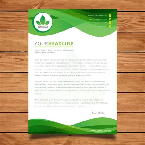 corporate layout free vector green wavy letter template vector free download