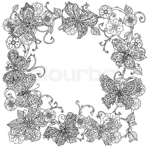 coloring pages for adult in zenart style antistress coloring page uncoloured frame flowers and butterfly for adult coloring