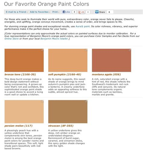 favorite popular best selling shades of orange paint colors from benjamin walls
