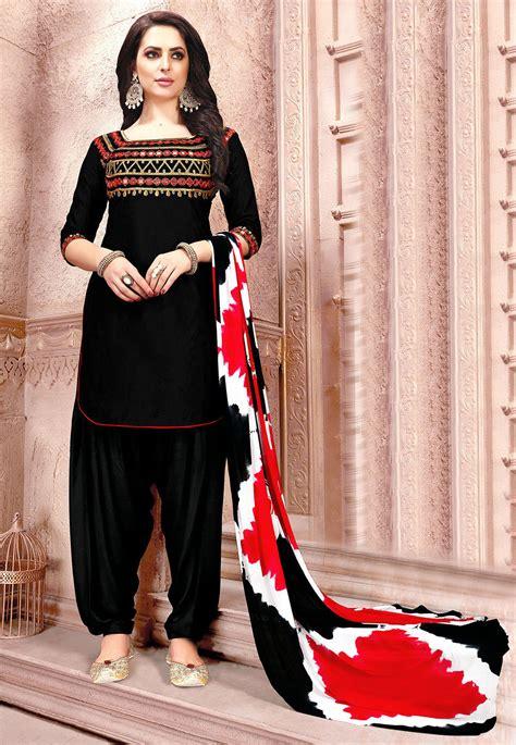 embroidered cotton punjabi suit  black kry