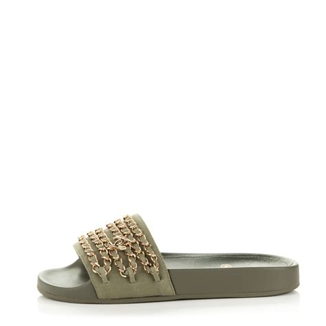sandals chanel 1128 39 chanel canvas chain flat sandals 36 khaki 175658