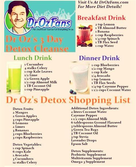 Dr Oz 10 Day Detox Plan by Dr Oz Three Day Detox Cleanse Trusper