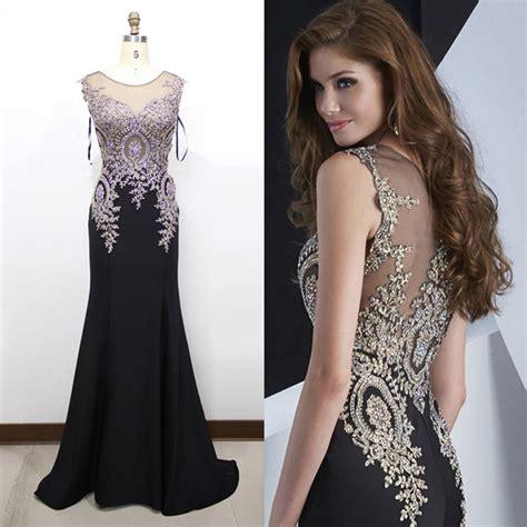 89 new spakly rhinestone lace mermaid prom dresses 2016 see through back black royal blue