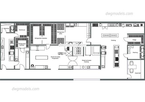 kitchen layout blocks kitchen of the restaurant dwg free cad blocks download