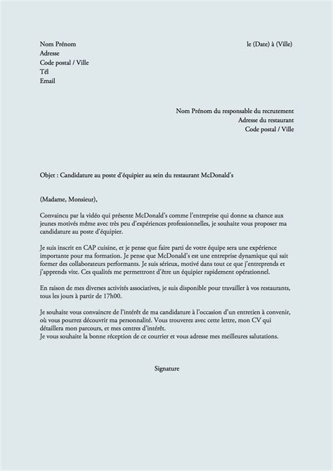 Exemple De Lettre De Motivation Pour Kfc Modele Lettre De Motivation Mcdonald Document