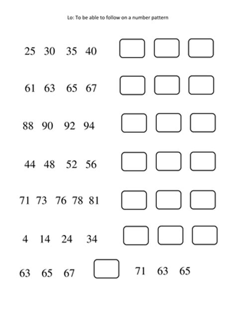 continue the pattern year 1 number patterns worksheets differentiated by amy loupin