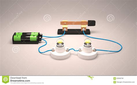 simple electric circuit connected in series stock