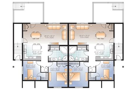 Fab 4 Plex House Plan 22346dr 1st Floor Master Suite Integrated Multi Family House Plans