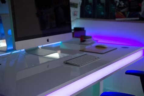 adjustable smart table design with ambient led lighting