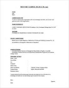 Resume Sles For Freshers In Word Document 28 Resume Templates For Freshers Free Sles Exles