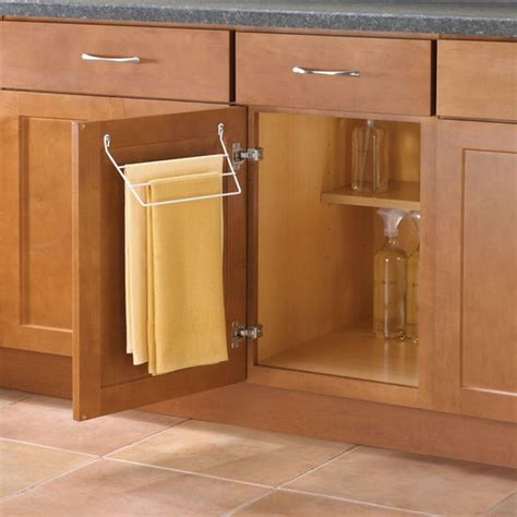 kitchen cabinet towel bar knape vogt door mount towel rack for kitchen or bathroom kitchensource com