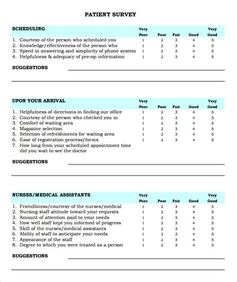 patient satisfaction survey 9 download free documents