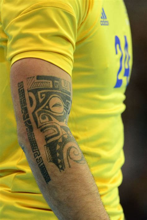 swedish tattoos a on the right arm of sweden s leftwing fredrik