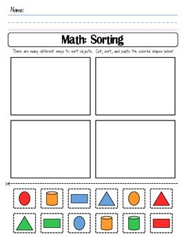 color shape sort cut and paste worksheet by shannon