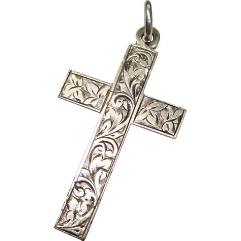 antique sterling cross pendant sold on ruby