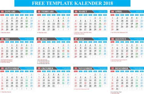template gratis kalender lengkap 2018 format coreldraw
