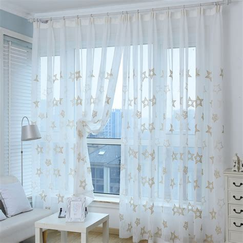 sheer curtains with stars high quality embroidered curtain white window sheer tulle