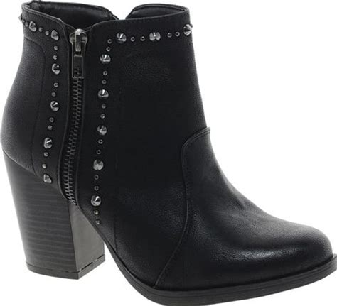 fred perry new look huddy studded zip black ankle boots in