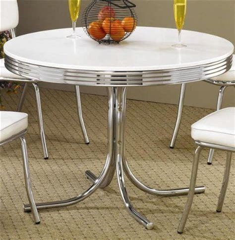 retro dining table chrome metal 50s kitchen dinette by