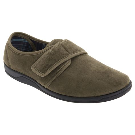 Sleeper For Mens Sleepers Mens Tom Imitation Suede Touch Fastening Slippers