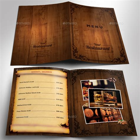 menu book template wooden style restaurant menu psd template by kirilmarin