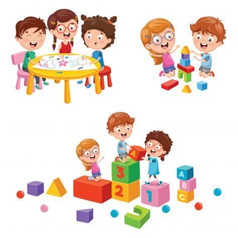Clipart Bambini Giocano Illustrazione Di Vettore Dei Bambini Della Scuola