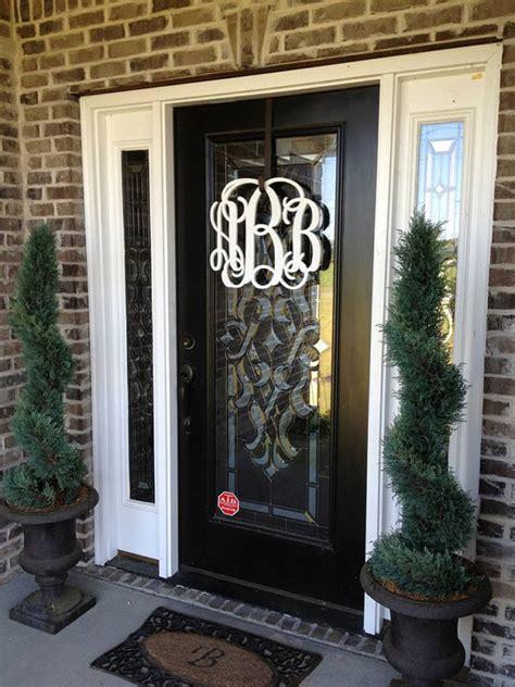 Wood Monogram For Front Door Wooden Door Monogram Wreath Monogram Wreath By Lettermania
